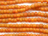 Yellow w/Orange Stripes Glass Beads 4-7mm (JV1104)