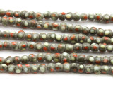 Gray w/Polka Dots Glass Beads 4-5mm (JV1054)