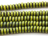Green Rondelle Glass Beads 6-8mm (JV1165)