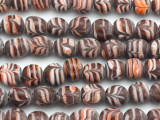 Brown w/Orange & White Feather Glass Beads 8-10mm (JV1180)