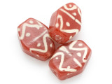Brick Red Tabular Glass Bead 28-40mm (CB450)