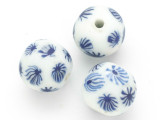 White w/Flowers Glass Bead 17-18mm (CB475)