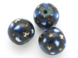 Black w/Blue & White Glass Bead 20mm (CB484)
