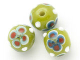 Lime Green Flower Glass Bead 11-15mm (CB439)
