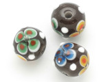 Brown Flower Glass Bead 11-15mm (CB440)