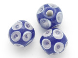 Blue w/Lavender Bubble Glass Bead 11-15mm (CB442)