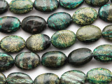 Turquoise Silver Line Jasper Oval Tabular Gemstone Beads 17mm (GS3311)