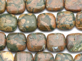 Rainforest Jasper (Rhyolite) Square Tabular Gemstone Beads 20mm (GS3356)