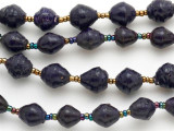 "Dark Purple Recycled Paper Beads - 36"" strand (PA64)"