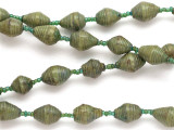 "Olive Green Recycled Paper Beads - 32"" strand (PA71)"