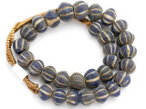 Old Jatim Majapahit Striped Glass Beads 17-20mm (RF638)
