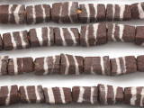 Brown & White Striped Block Sandcast Glass Beads 11-13mm (SC919)