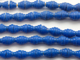Royal Blue Pyramid Sandcast Glass Beads 7mm (SC871)