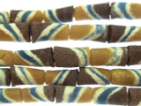 Tan, Brown & Blue Striped Tube Sandcast Glass Beads 10mm (SC874)