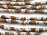 Brown Striped Tube Sandcast Glass Beads 18mm (SC883)