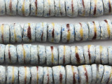 Speckled Blue & White Striped Sandcast Glass Beads 11-12mm (SC903)