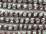 Brown Painted Sandcast Glass Beads 18-23mm (SC911)