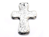 Pewter 9-Hole Cross Pendant 79mm (PW679)
