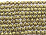 Brass Rounded Bicone Metal Beads - Ethiopia 3mm (ME344)