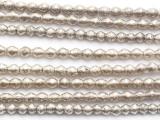 Silver Irregular Bicone Metal Beads 4mm - Ethiopia (ME352)