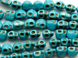 Turquoise Magnesite Skull Gemstone Beads 11mm (GS3432)