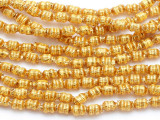 Ecuadorian Gold-Plated Glass Barrel Beads 4mm (EG10)