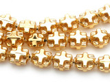 Ecuadorian Gold-Plated Glass Cross Beads 11mm (EG18)