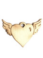 Winged Heart - Wood Cut Charm 13mm (WP65)