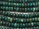 Turquoise Silver Line Jasper Rondelle Gemstone Beads 7-8mm (GS3482)