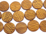 Brown Round Tabular Leather Beads 25mm (LB517)