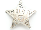 Silver US Marshall Star Metal Badge 75mm (AP1527)
