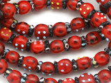 Red Lady Bug Lampwork Glass Beads 10mm (LW1545)