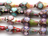Multi-Color Vases w/Flowers Lampwork Glass Beads 24mm (LW1554)