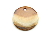 Chilean Brown Round Clay & Fused Glass Pendant 30mm (AP1551)