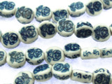 Coin w/Roses 8mm - Glazed Blue & White Porcelain Beads (PO379)