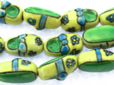 Shoes w/Flowers 20mm - Glazed Yellow & Green Porcelain Beads (PO381)