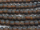 Dark Brown Recycled Glass Beads 13-15mm - Africa (RG597)