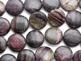 Purple Silver Line Jasper Round Tabular Gemstone Beads 20mm (GS3484)