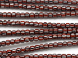 Red, Black & White Striped Trade Beads 5mm (AT7012)