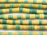 Yellow & Green Disc Trade Beads 7-9mm (AT7021)