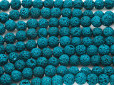 Teal Blue Lava Rock Round Beads 8mm (LAV106)