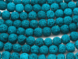 Teal Blue Lava Rock Round Beads 10mm (LAV112)