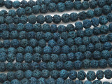Navy Blue Lava Rock Round Beads 6mm (LAV122)