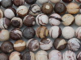 Brown Zebra Jasper Faceted Round Gemstone Beads 14mm (GS3613)