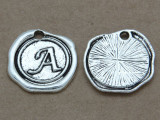 A - Wax Seal Stamp - Pewter Charm 18mm (PW758)