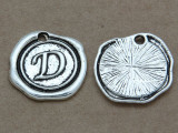 D - Wax Seal Stamp - Pewter Charm 18mm (PW761)