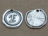 E - Wax Seal Stamp - Pewter Charm 18mm (PW762)