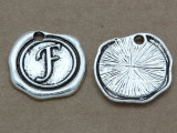 F - Pewter Wax Seal Stamp Charm 18mm (PW763)