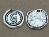 G - Wax Seal Stamp - Pewter Charm 18mm (PW764)