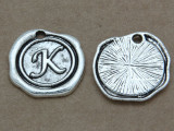 K - Wax Seal Stamp - Pewter Charm 18mm (PW768)